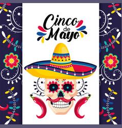 mexican card with skull decoration and hat vector image