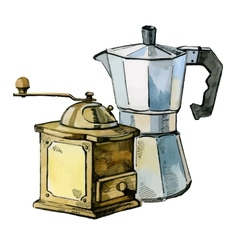 Mill and coffee maker vector