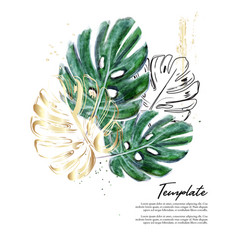 monstera hand-drawn watercolor with gold foil vector image