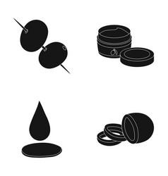 Olives on skewers a piece of black olives a jar vector