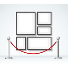 Picture frame and silver rope barrier constructor vector