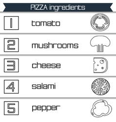 Pizza ingredients infographics in black and white vector