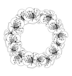 plum blossom flower wreath outline vector image