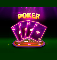 poker table with cards and chips background vector image