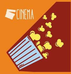 Pop corn box cinema cartoon vector