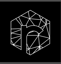 r geometric triangle blockchain font vector image