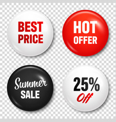 realistic badges with text product promotion vector image
