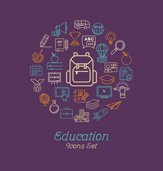 Round line education concept for back to school vector