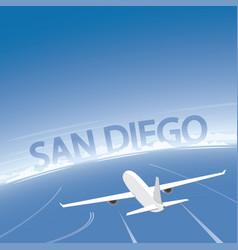 San diego skyline flight destination vector