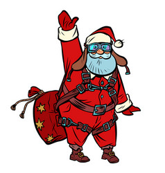 Santa claus skydiver wishes you a merry christmas vector