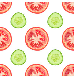 seamless pattern of tomato slices and cucumber vector image