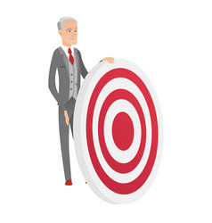 Senior caucasian businessman and dart board vector