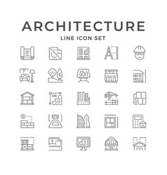 Set line icons architecture vector