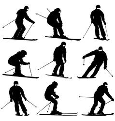 Set mountain skier speeding down slope vector