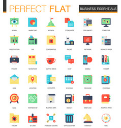 set of flat business essentials icons vector image
