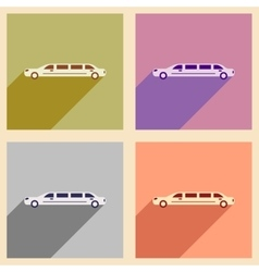 Set of flat web icons with long shadow limousine vector