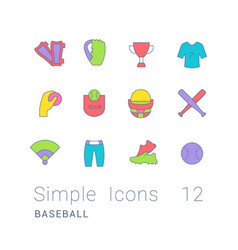 set simple line icons baseball vector image