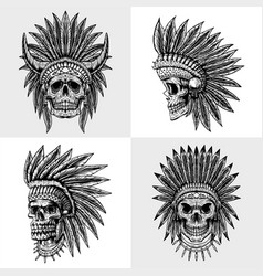 Set skull indian collection vector