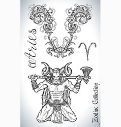 Set with aries zodiac sign and mascot drawing vector
