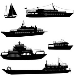 Ships and boats silhouettes vector