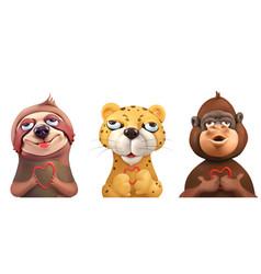 sloth leopard monkey cartoon characters cute vector image