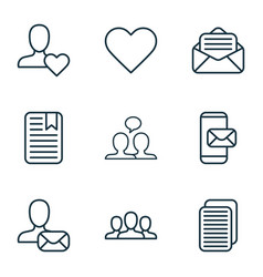 social icons set collection of note page vector image