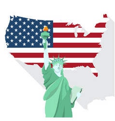 Statue of liberty with american map design vector
