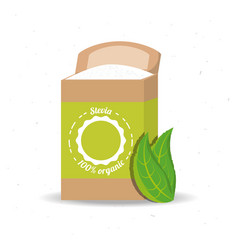 stevia natural sweetener product and leaves vector image
