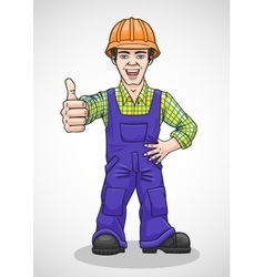 The worker raised his thumb up vector
