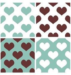 Tile hearts background set vector image