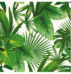Tropical green leaves seamless white background vector