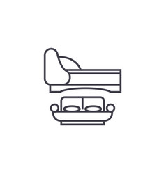 two double beds line icon sign vector image