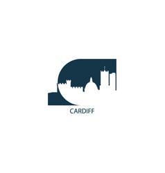 uk cardiff skyline silhouette vector image