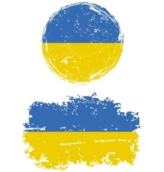 Ukrainian round and square grunge flags vector image