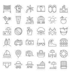 Vacation on the beach outline icon set vector
