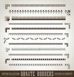 vintage ornate borders set of 12 vector image