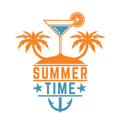 vintage summer design with cocket and palms vector image