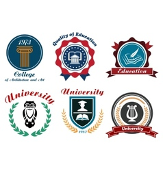 Vintage university and college logotype vector image vector image
