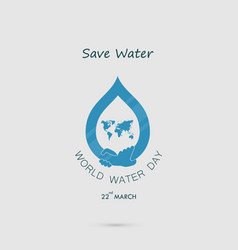 Water drop with world icon and human hand logo vector
