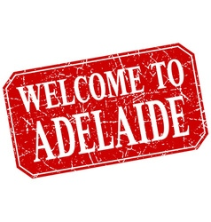 Welcome to Adelaide red square grunge stamp vector