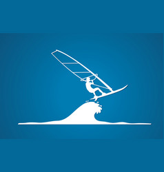 windsurfing man play windsurf graphic vector image