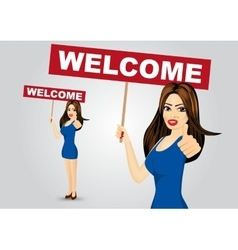 Woman with welcome text message vector