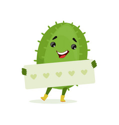 cute smiling cactus holding banner with hearts vector image vector image