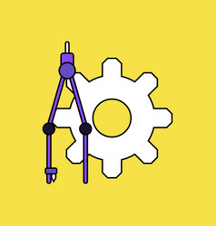 Flat icon design collection gear and tool vector