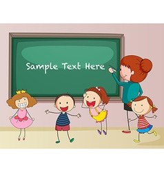 Frame design with teacher and students vector image