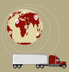 global network of commercial road cargo trucking vector image vector image