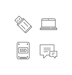 ssd disk usb flash drive and notebook icons vector image