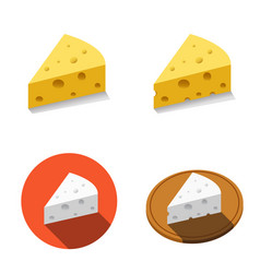 white and yellow cheese in flat style vector image vector image