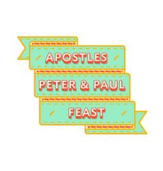 Apostles peter paul feast greeting emblem vector