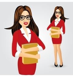 business woman with glasses and folder vector image